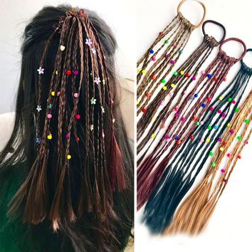 2pc Fashion Children Wig Braids Multi-color Mini Clip Kids Elastics Hair Bands Girl Cute Hair Accessories Korean Style Hair Rope
