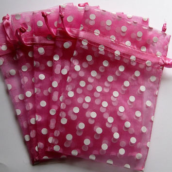 Set of 10 Pretty Pink with White Polka Dot Organza Bags (4x6)