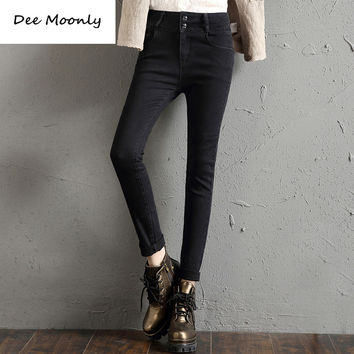 DEE MOONLY New arrival Spring And Autumn Outfit Size Women Jeans Waist loose Feet straight Blue Women Jeans Women Long Pants