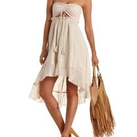 Blush Eyelet Cut-Out Strapless Dress by En Crème at Charlotte Russe
