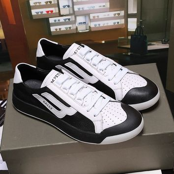 Bally The New Competition Men's Deer Leather Trainer In Black White Sneakers Shoes - Best Online Sale