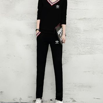 """Adidas"" Women Casual Multicolor Stripe V-Neck Long Sleeve Trousers Set Two-Piece Sportswear"