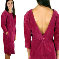 80s suede dress mauve dusty rose pink backless Size L