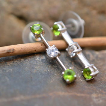 Sterling Silver Bar Post Earrings with Green and White Stones