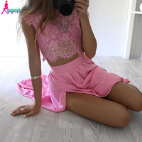 Gagaopt 2016 Women Dress 3 Pc Sets Floral Lace Bodycon Dress Sexy Club Party Wedding Vintage Long Dress Casual Vestiods Robes
