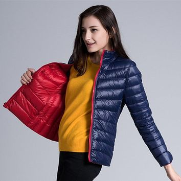 2016 Winter Coat New Duck Down Thin Female Long-sleeved Jacket Stand Collar Women Reversible Both Side Wear Casual Parka JY-736