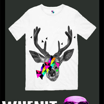 Deer exclusive hand print men t shirt 30421