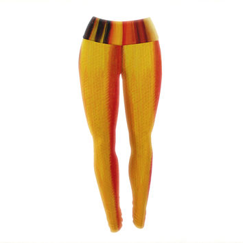 "Theresa Giolzetti ""Firework"" Yellow Orange Yoga Leggings"