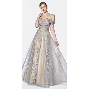 Off The Shoulder Lace A-Line Tulle Gown Grey/Nude Long Lace Up Back