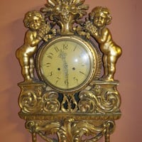 Canonbury - Antique French Gilt Cherub Wall Clock 1920