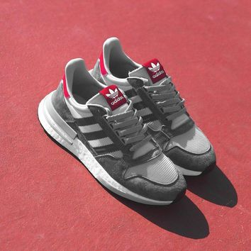 "Adidas ZX500 RM Boost OG ZX500 ""Grey&White"" Retro Running Shoes B42204"