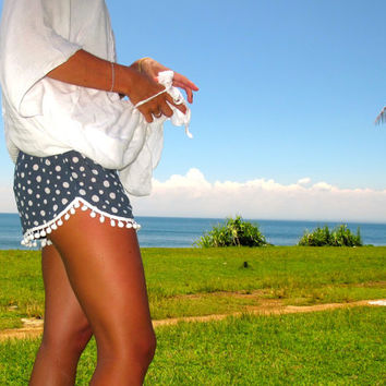 Pom Pom Shorts - Navy Polka dot pattern with White Pom Pom Trim - lightweight chiffon
