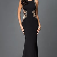 Long Black Sleeveless Illusion Side Panel Dress