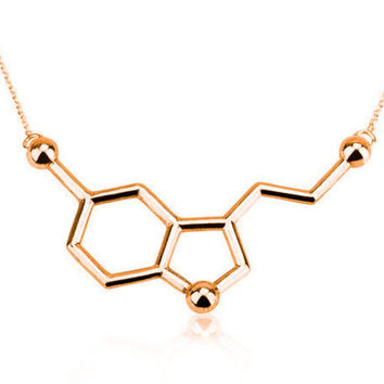 Serotonin Molecule Necklace Chemical Formula 5-HT Necklace Hormone Molecules DNA Necklace Nurse Jewelry-03130