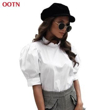 OOTN White Tunic Blouses Women Ruffled Shirts Female 2018 Summer Spring Short Sleeve Frill Neck Tops Office Blouse Chemise Femme