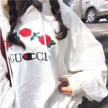 """Gotopfashion GUCCI Hot Sale Embroidery Rose Flower Blouse loose type Hoodie Sweatershirt White"""""""