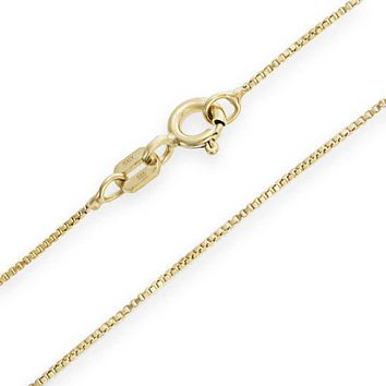 1MM Thin Real 14K White Yellow Rose Gold Box Chain Necklace 14-24 Inch