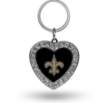 NFL New Orleans Saints Heart Keychain FREE SHIPPING!