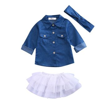 Toddler Kids Baby Girl Clothes Set Denim Tops Shirt Tutu Skirts Ruffles Cute Party 3pcs Outfits Clothing Set Girls
