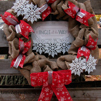 Burlap Christmas Wreath, Burlap Wreath, Christmas, Ribbon, Snowflakes, Signs