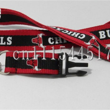 FREE SHIPPING ONE PC Red Chicago  Basketball Key Lanyard Badge ID Holders Mobile neck straps