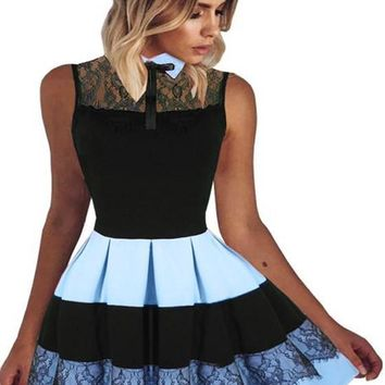 Black-Blue Patchwork Lace Pleated Bowknot Peter Pan Collar A-line Cute Mini Dress