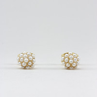 Gold Pearl Cluster Stud Earrings