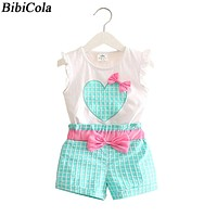 BibiCola new  summer Baby girls Bow Clothing Set infant Children Suit Set 2Pcs Lattice Pants toddler kids Girls clothes Sets