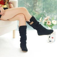 Women's Slouchy Wide Boots hollow hook lace cotton scrubs ladies boots shoes tall boots winter boots [9305733255]