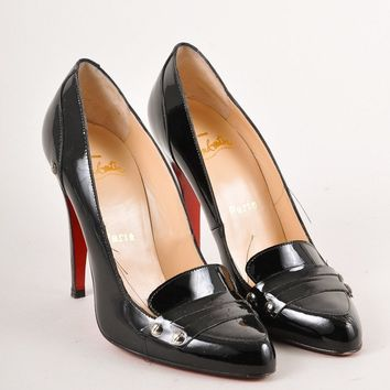CREYU2C Black Patent Leather Loafer Pumps