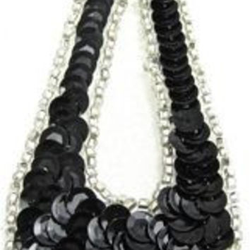 """Design Motif Large Teardrop in Black Sequins with Silver Beaded Trim 1.5"""" x 4"""""""