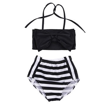 2pcs!!Bowknot Baby Girl Kids Bathing Suit Swimwear Bikini Set Striped Tankini Swimsuit Costume