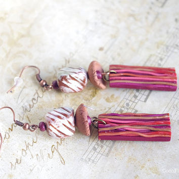 Rustic earrings - brown striped earth bead earring dangle - ethnic jewelry - artisan ceramic and wood bead