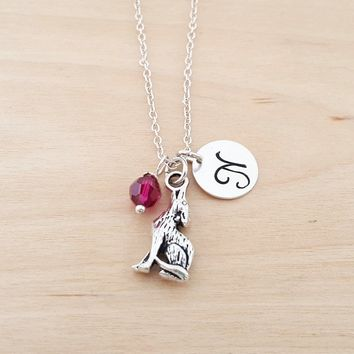Wolf Charm Personalized Sterling Silver Necklace