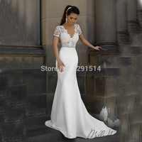 Milla Nova Designer Mermaid Wedding Dresses Sexy Garden V Neck Short Sleeves Ivory Pearls Lace