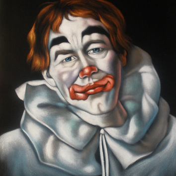 Sad Clown black velvet original oil painting handpainted signed art 18 by 24 inches