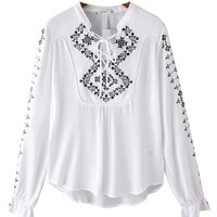 Embroidered Geo-Tribal Blouse