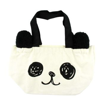 Small Panda Bear Face Shaped Fabric Lunch Tote Bag | DOTOLY