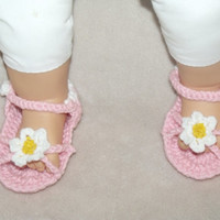 Flower Power Infant Sandals - Baby Sandals - Crochet baby sandles with flowers - Custom crochet baby girl sandals