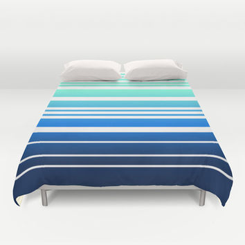 Bay Ombre Stripe: Mint Navy Duvet Cover by Eileen Paulino