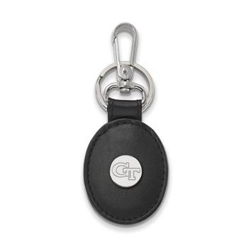 NCAA Sterling Silver Georgia Tech Black Leather Key Chain