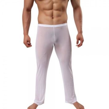 Sexy See-through Mesh Men's Long Pants Pyjama Trousers White