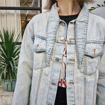 Denim Women's Fashion Stylish Rinsed Denim Ripped Holes Jacket [206225539098]