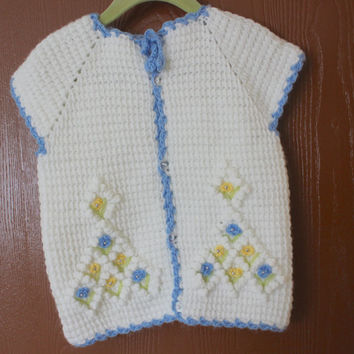 Handmade Blue Crochet Baby VEST//  Hand Crochet Baby Clothing / Hand Crochet Baby Cardigan // Ready to be shipped TODAY