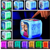 Cute LED Alarm Electric Clock Woman Digital Anna Hans Elsa Olaf Luminova Cartoon Character Square LED Toys Girls Children Gifts