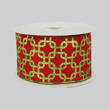 "2.5"" Red Lime Interlock Satin Wire Edge Ribbon (10 Yards)"