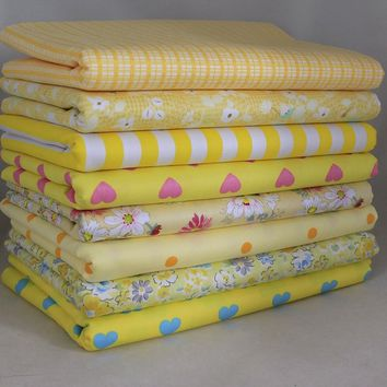 """Sewing Yellow 8 Assorted Pre Cut Charm 10"""" Squares Quilt Cotton Fabric"""