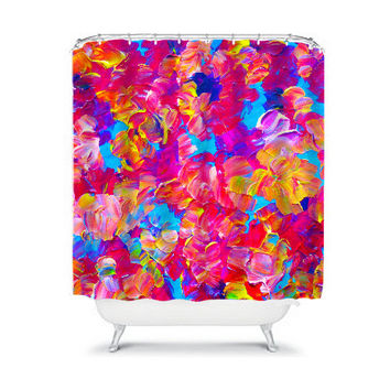 FLORAL FANTASY Pink Floral Art Shower Curtain Washable Home Decor Colorful Hot Pink Turquoise Girly Painting Modern Teen Flowers Bathroom