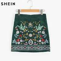 Botanical Embroidered Cord Skirt Skirts for Women Green A Line Ladies Skirts Elegant Above Knee Skirt