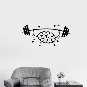 Wall Decal Brain Training Mind Strength Workout Barbell Vinyl Sticker (ed1139)